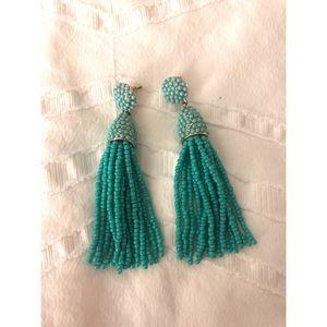 BaubleBar teal beaded tassel earrings